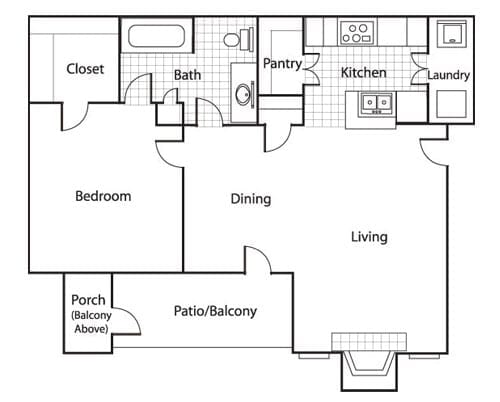 Floor plan of a 720 sq ft 1 bedroom apartment with balcony at the Retirement Community Preston Place in Plano, TX