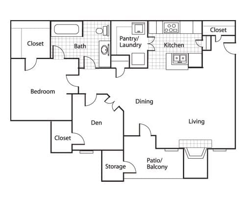 Floor plan of a 850 sq ft 1 bedroom apartment with balcony and den at the Retirement Community Preston Place in Plano, TX