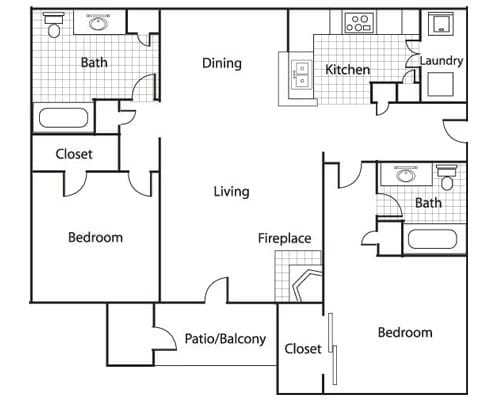 Floor plan of a 2 bedroom apartment with balcony and fireplace at the Retirement Community Preston Place in Plano, TX