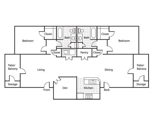 Floor plan of a 2 bedroom apartment with 2 balconies and den at the Retirement Community Preston Place in Plano, TX