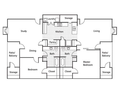Floor plan of a 2 bedroom apartment with 2 balconies and study at the Retirement Community Preston Place in Plano, TX