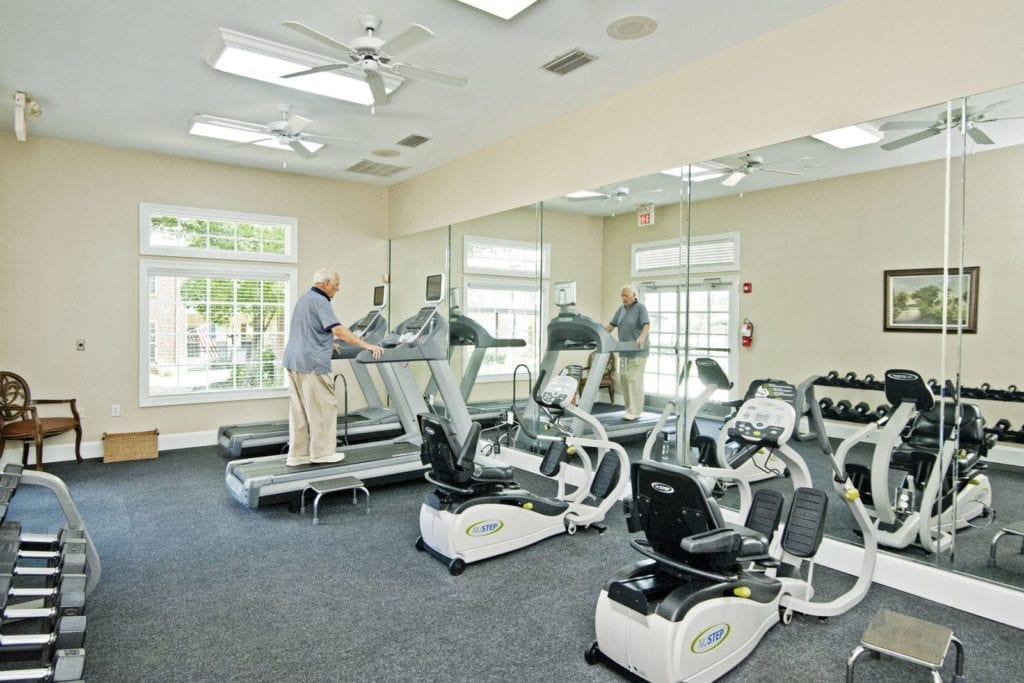 Gym and exercise facilities at the Active Adult Community Preston Place in Plano, TX