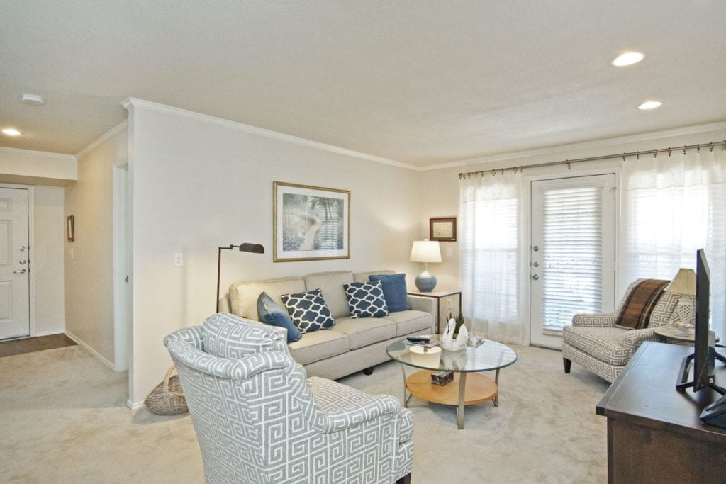 Typical apartment living room at the Active Adult Community Preston Place in Plano, TX