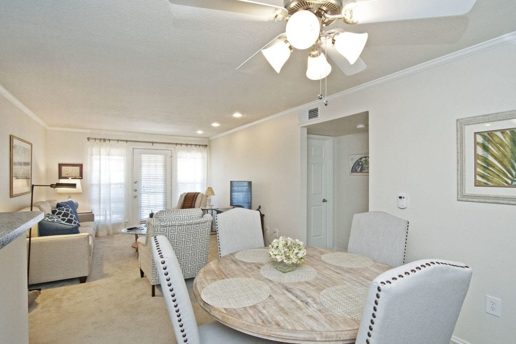Typical apartment dining room at the Active Adult Community Preston Place in Plano, TX
