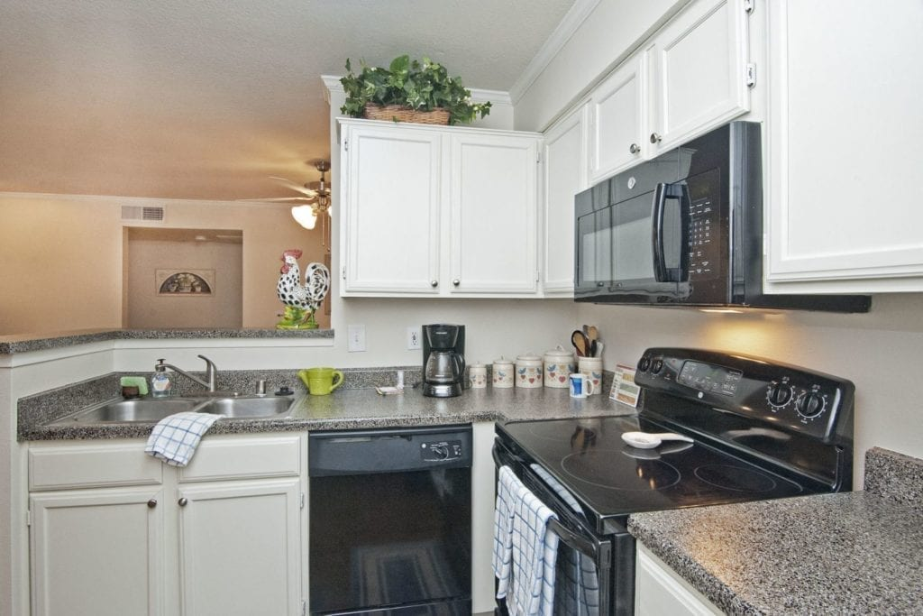 Typical apartment kitchen at the Active Adult Community Preston Place in Plano, TX