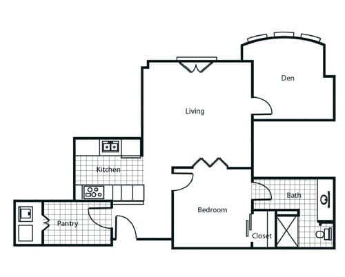 Floor plan of a 1 bedroom apartment with den at the Retirement Community Parc Place in Bedford, TX