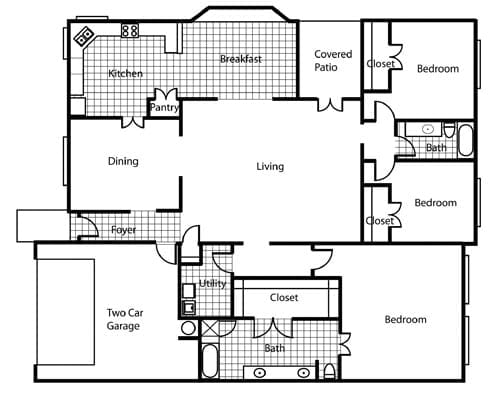 Floor plan of a 3 bedroom apartment with garage at the Retirement Community Parc Place in Bedford, TX