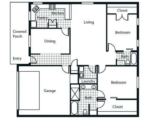 Floor plan of a 2 bedroom apartment with garage at the Retirement Community Parc Place in Bedford, TX