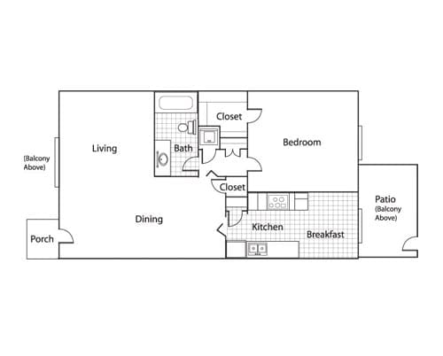 Floor plan of a 833 sq ft 1 bedroom apartment with balcony at the Active Adult Community Meadowstone Place in Dallas, TX