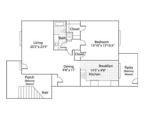 Floor plan of a 950 sq ft 1 bedroom apartment with balcony at the Active Adult Community Meadowstone Place in Dallas, TX