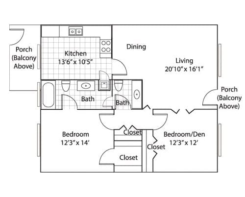 Floor plan of a 1059 sq ft 1 bedroom apartment with den & balcony at the Adult Community Meadowstone Place in Dallas, TX