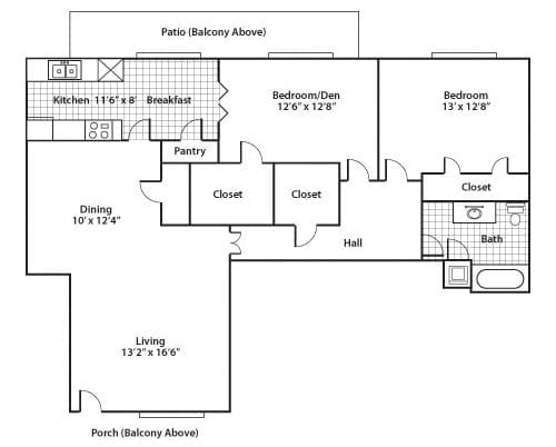 Floor plan of a 1134 sq ft 2 bedroom apartment with balcony at the Active Adult Community Meadowstone Place in Dallas, TX