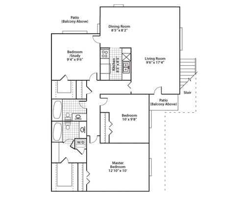 Floor plan of a 1365 sq ft 2 bedroom apartment with den & balcony at the Adult Community Meadowstone Place in Dallas, TX