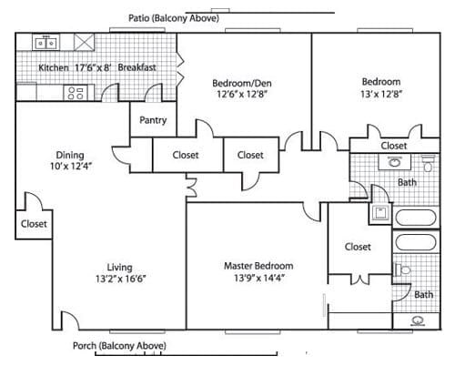 Floor plan of a 1534 sq ft 2 bedroom apartment with den & balcony at the Adult Community Meadowstone Place in Dallas, TX