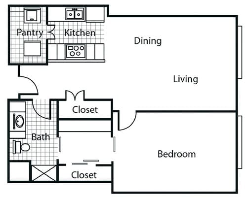 Floor plan of a 865 sq ft 1 bedroom apartment at the Retirement Community Parc Place in Bedford, TX