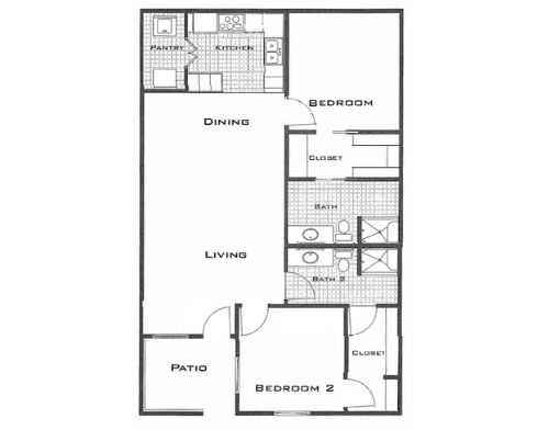 Floor plan of a 1190 sq ft 2 bedroom and 2 bathroom apartment at the Retirement Community Parc Place in Bedford, TX