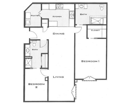 Floor plan of a 1366 sq ft 2 bedroom and 2 bathroom apartment at the Retirement Community Parc Place in Bedford, TX