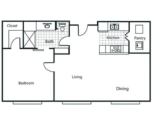 Floor plan of a 825 sq ft 1 bedroom apartment at the Retirement Community Parc Place in Bedford, TX