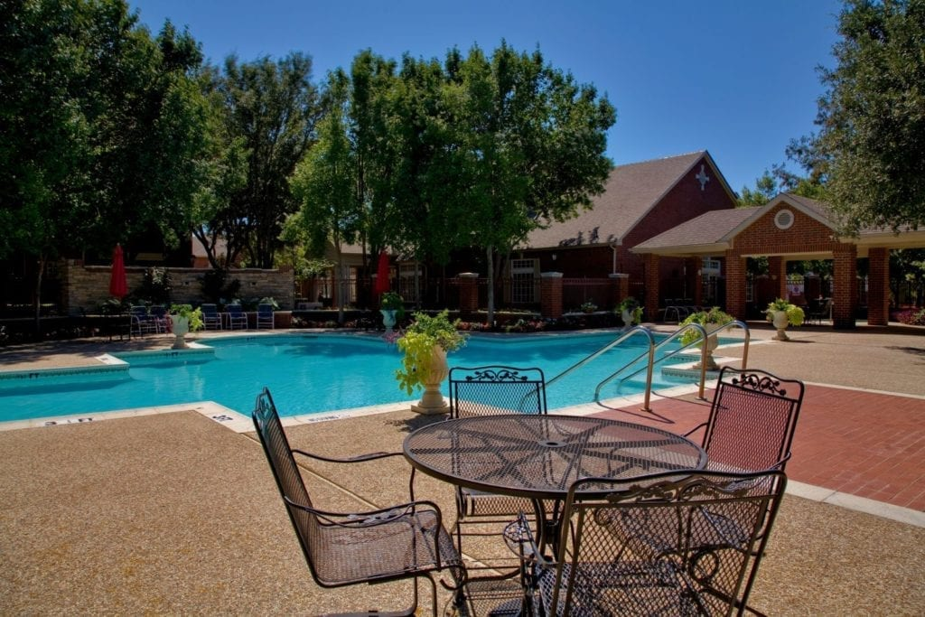 Pool area of the Active Adult Community Preston Place in Plano, TX