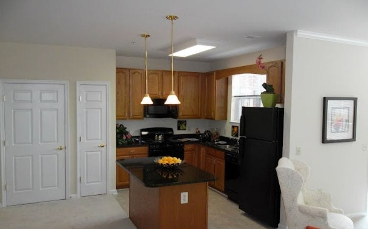 Typical apartment kitchen at the Retirement Community Verena at the Reserve in Williamsburg, VA