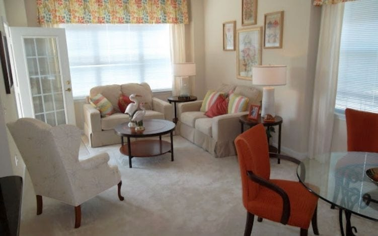Typical apartment living room at the Retirement Community Verena at the Reserve in Williamsburg, VA