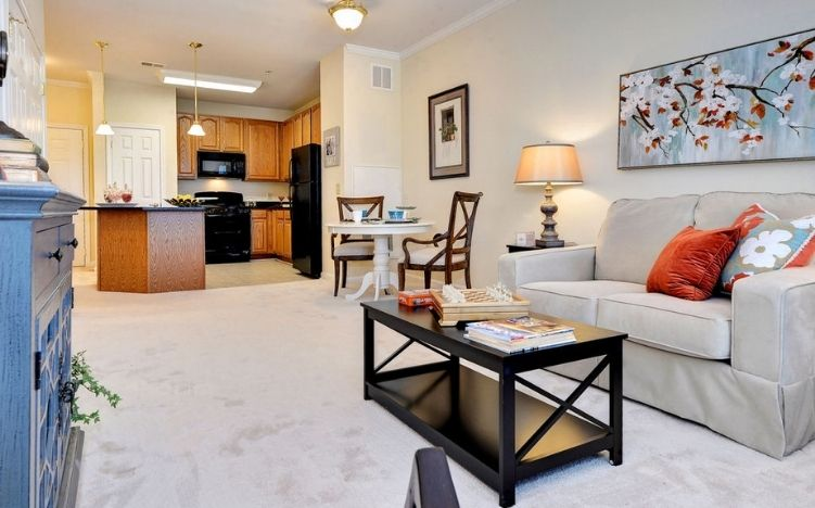 A typical living room and kitchen of the Retirement Community Verena at the Reserve