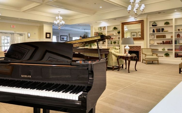 The piano in the lobby of the Retirement Community Verena at the Reserve
