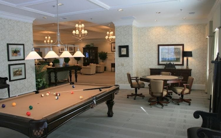 Recreation room with pool table at the Retirement Community Verena at the Reserve in Williamsburg, VA