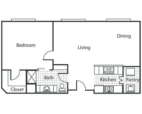 Floor plan of a 1 bedroom apartment at the Retirement Community Parc Place in Bedford, TX