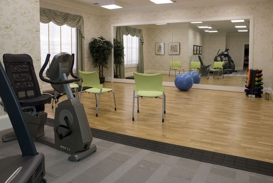 Gym and exercise facilities at the Retirement Community Verena at the Reserve in Williamsburg, VA