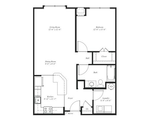 Floor plan of a 826 sq ft 1 bedroom apartment at the Retirement Community Verena at the Reserve in Williamsburg, VA