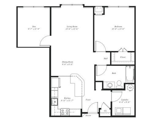 Floor plan of a 1 bedroom apartment with den at the Retirement Community Verena at the Reserve in Williamsburg, VA