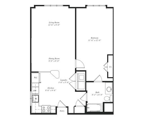 Floor plan of a 665 sq ft 1 bedroom apartment at the Retirement Community Verena at the Reserve in Williamsburg, VA