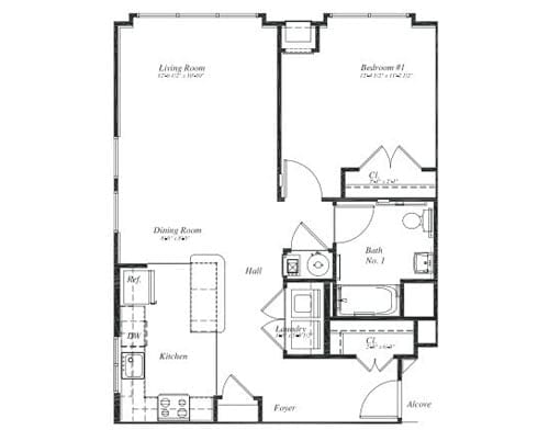 Floor plan of a 781 sq ft 1 bedroom apartment at the Retirement Community Verena at the Reserve in Williamsburg, VA
