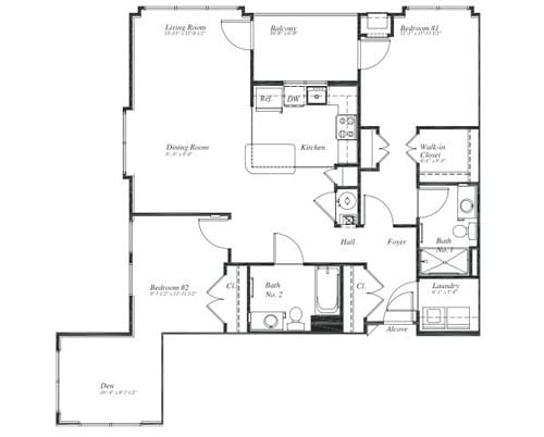 Floor plan of a 2 bedroom apartment with den at the Retirement Community Verena at the Reserve in Williamsburg, VA