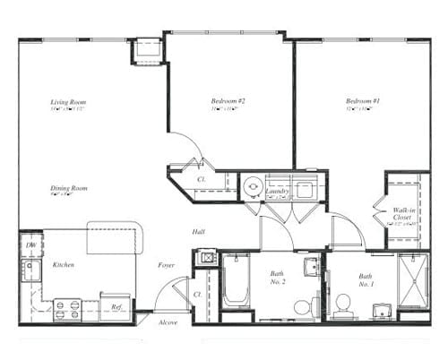 Floor plan of a 963 sq ft 2 bedroom apartment at the Retirement Community Verena at the Reserve in Williamsburg, VA