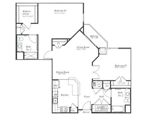 Floor plan of a 2 bedroom apartment with balcony at the Retirement Community Verena at the Reserve in Williamsburg, VA