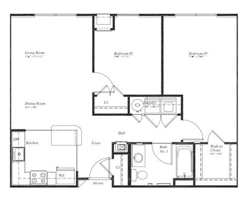 Floor plan of a 880 sq ft 2 bedroom apartment at the Retirement Community Verena at the Reserve in Williamsburg, VA