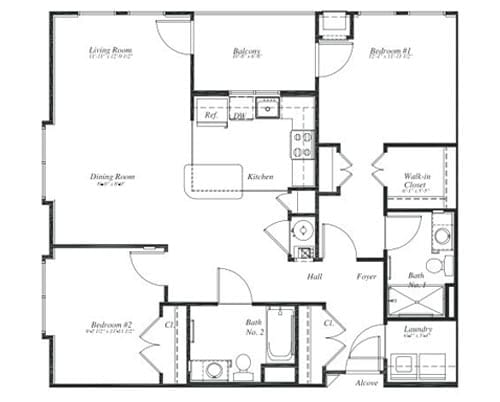 Floor plan of a 1110 sq ft 2 bedroom apartment with balcony at the Retirement Community Verena at the Reserve