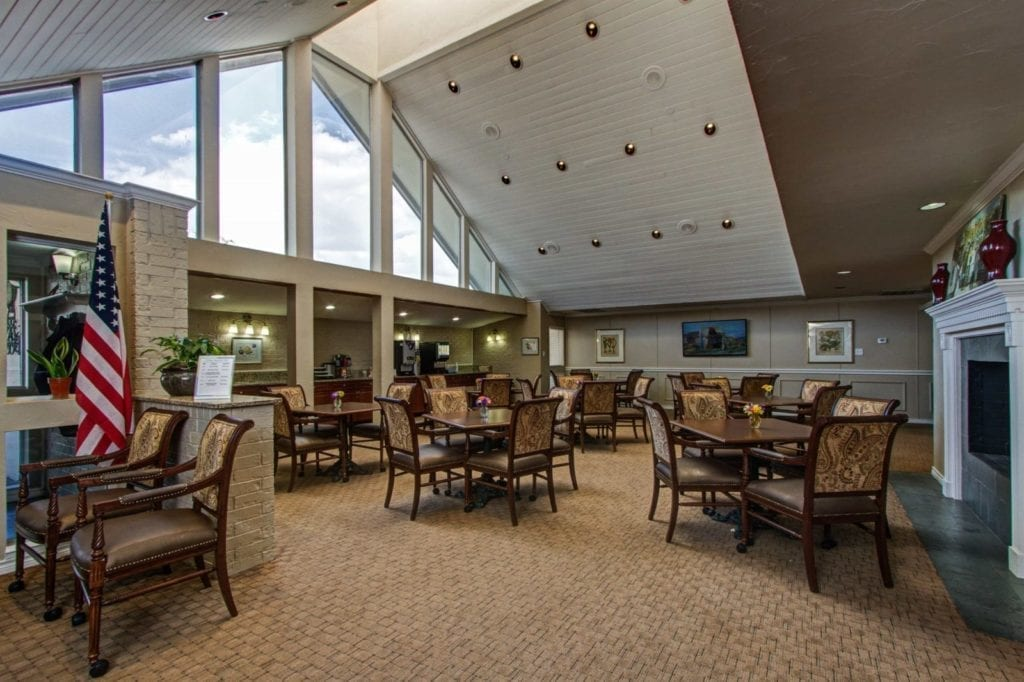 The clubhouse dining area of the Active Adult Community Meadowstone Place in Dallas, TX