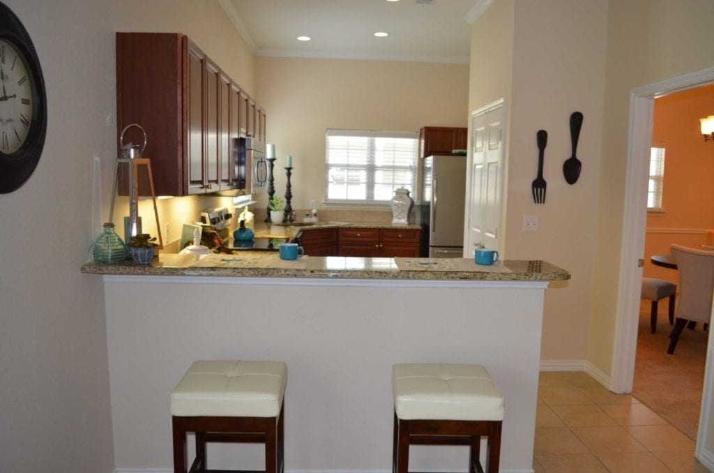 Typical apartment kitchen at the Retirement Community Parc Place in Bedford, TX