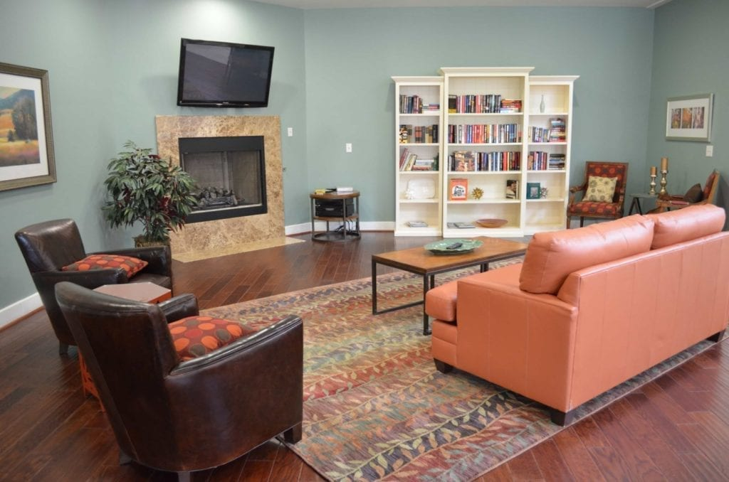 Typical apartment living room at the Retirement Community Parc Place in Bedford, TX