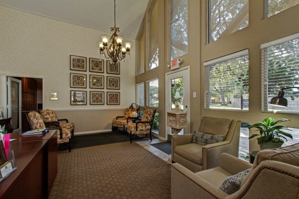 Inside of the Meadowstone Leasing Center Office at the Active Adult Community Meadowstone Place in Dallas, TX