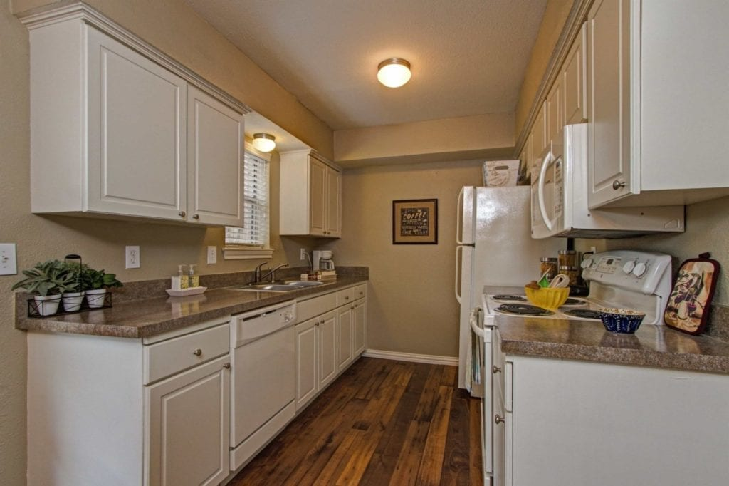 Typical apartment kitchen at the Active Adult Community Meadowstone Place in Dallas, TX