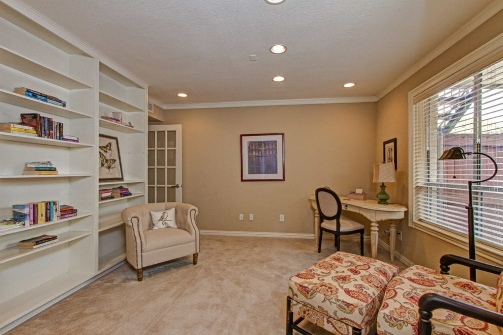 Typical apartment office and library at the Active Adult Community Meadowstone Place in Dallas, TX