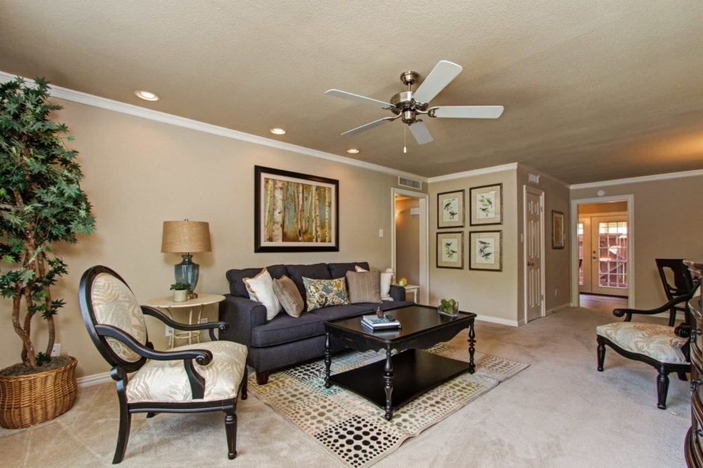 Typical apartment living room at the Active Adult Community Meadowstone Place in Dallas, TX