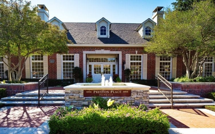 The entrance of the Active Adult Community Preston Place building in Plano, TX