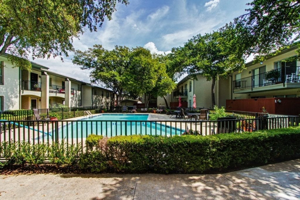 A view of them pool area from the apartment of the Active Adult Community Meadowstone Place in Dallas, TX
