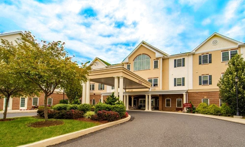The entrance of the Senior Living Community Arbour Square of Harleysville, PA