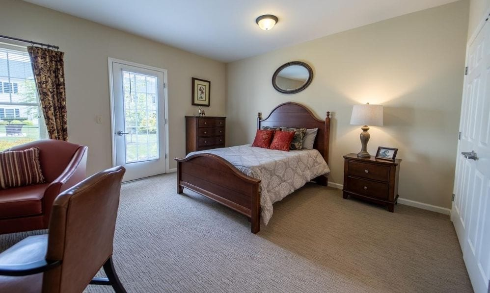 The apartment bedroom of the Senior Living Community Arbour Square of Harleysville, PA